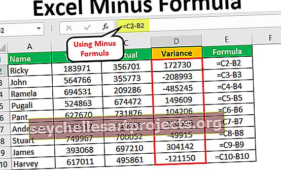 Τύπος μείον Excel