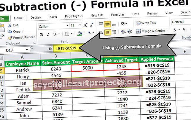 Τύπος αφαίρεσης του Excel