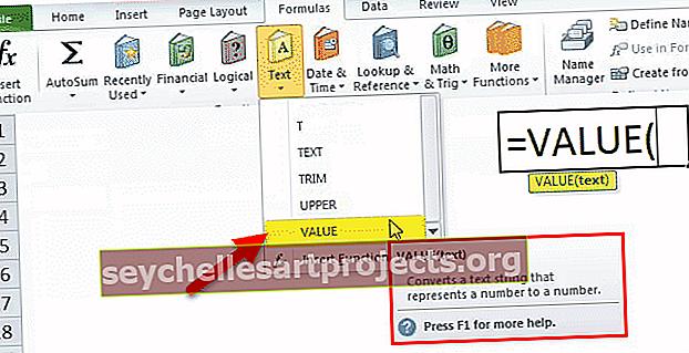 Λειτουργία VALUE στο Excel