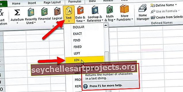 Λειτουργία LEN Excel (Μήκος)