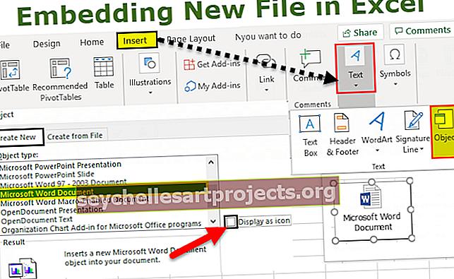 Εισαγωγή (Ενσωμάτωση) ενός αντικειμένου στο Excel