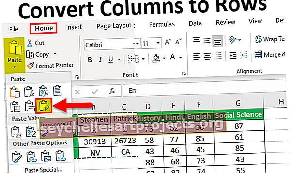 Μετατροπή στηλών σε σειρές στο Excel