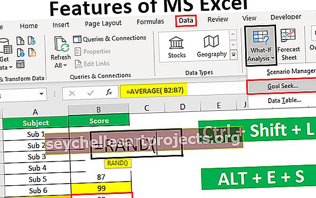 Χαρακτηριστικά του MS Excel