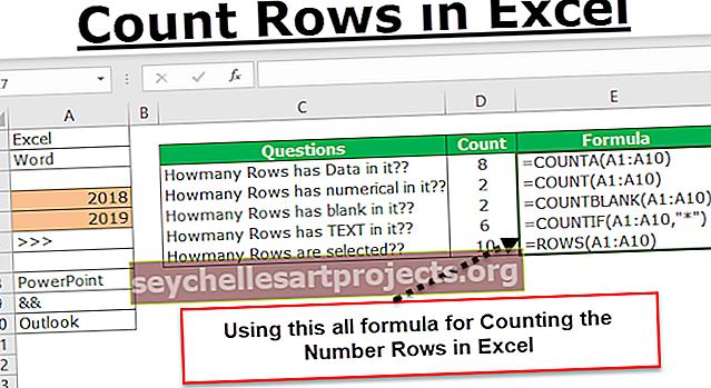 Laske rivit Excelissä