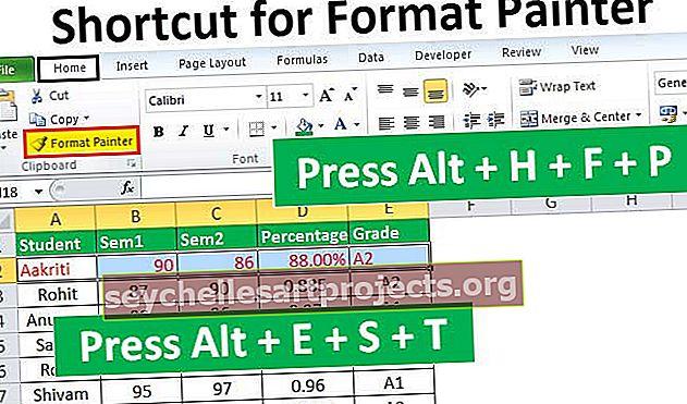 Format Painterin pikakuvake Excelissä