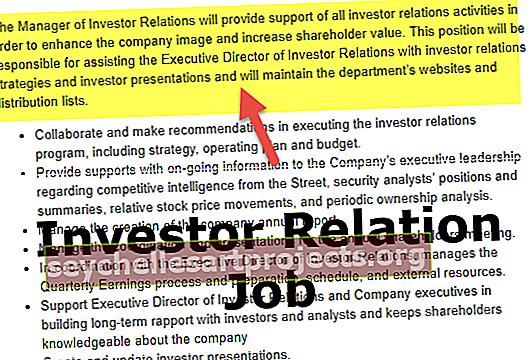 Περιγραφή εργασίας σχέσης επενδυτή